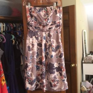 Purple floral strapless dress size 2